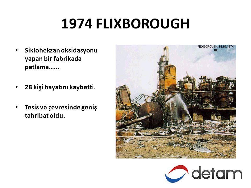 1974 FLIXBOROUGH Siklohekzan oksidasyonu yapan bir fabrikada patlama…... 28 kişi hayatını kaybetti.