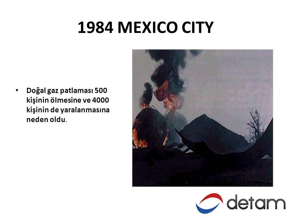 1984 MEXICO CITY Doğal gaz patlaması 500 kişinin ölmesine ve 4000 kişinin de yaralanmasına neden oldu.