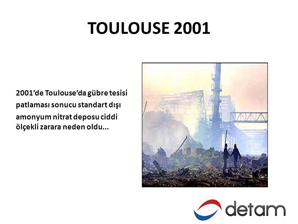 TOULOUSE 2001 2001'de Toulouse'da gübre tesisi patlaması sonucu standart dışı amonyum nitrat deposu ciddi ölçekli zarara neden oldu...