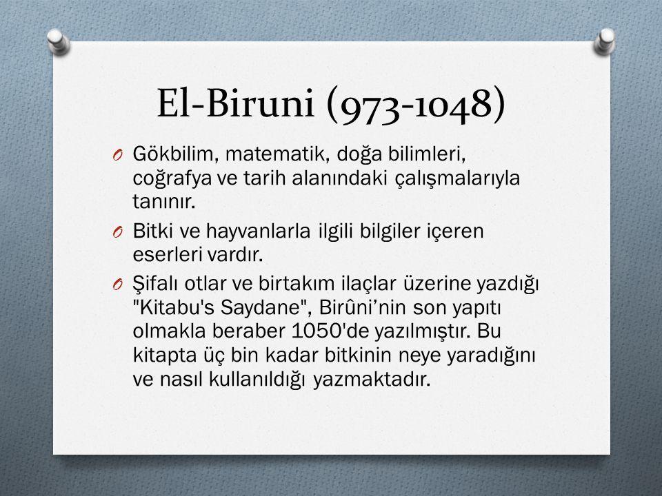 El-Biruni (973-1048) Gökbilim, matematik, doğa bilimleri, coğrafya ve tarih alanındaki çalışmalarıyla tanınır.