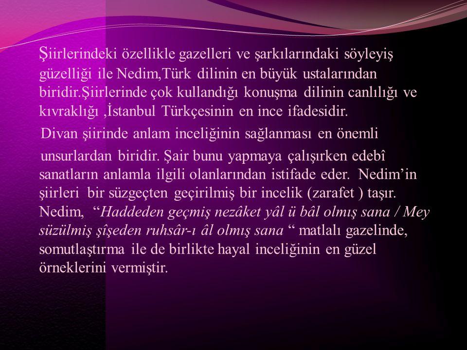 Şiirlerindeki özellikle gazelleri ve şarkılarındaki söyleyiş güzelliği ile Nedim,Türk dilinin en büyük ustalarından biridir.Şiirlerinde çok kullandığı konuşma dilinin canlılığı ve kıvraklığı ,İstanbul Türkçesinin en ince ifadesidir.