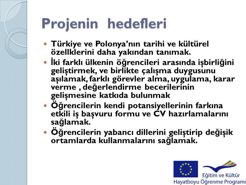 Projenin hedefleri Türkiye ve Polonya'nın tarihi ve kültürel özellklerini daha yakından tanımak.