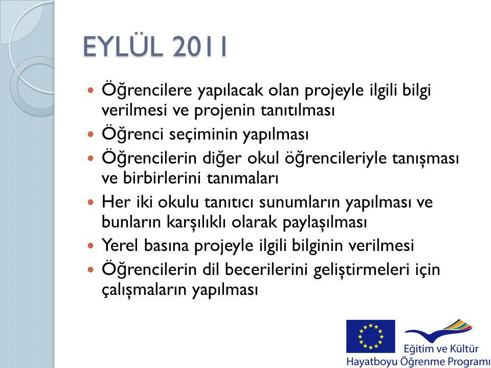 EYLÜL 2011 Öğrencilere yapılacak olan projeyle ilgili bilgi verilmesi ve projenin tanıtılması. Öğrenci seçiminin yapılması.