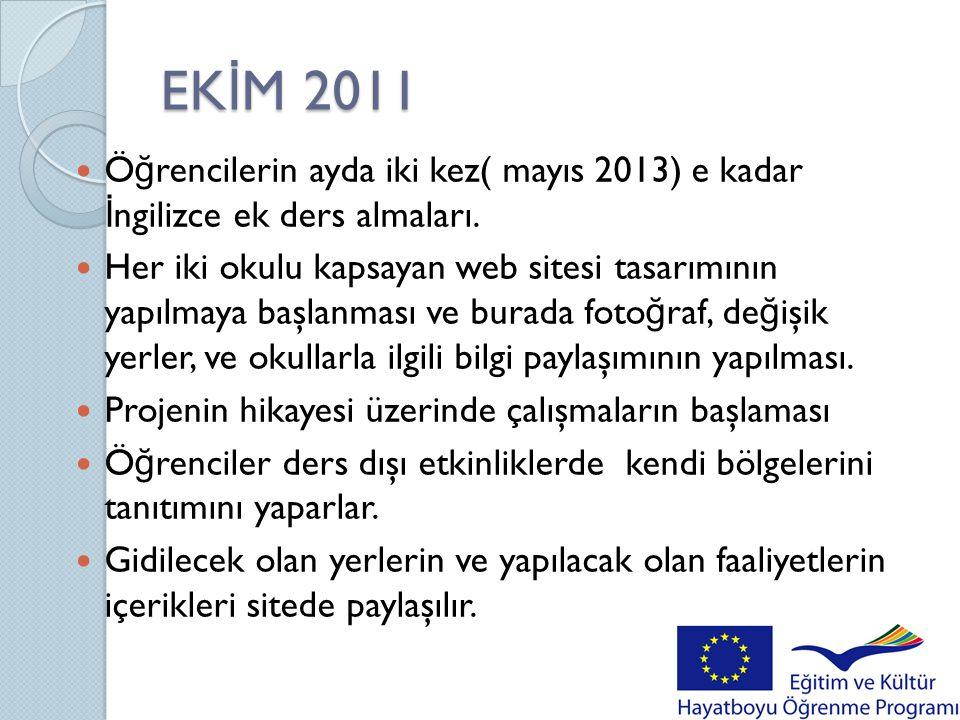 EKİM 2011 Öğrencilerin ayda iki kez( mayıs 2013) e kadar İngilizce ek ders almaları.
