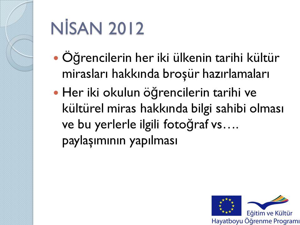 NİSAN 2012 Öğrencilerin her iki ülkenin tarihi kültür mirasları hakkında broşür hazırlamaları.