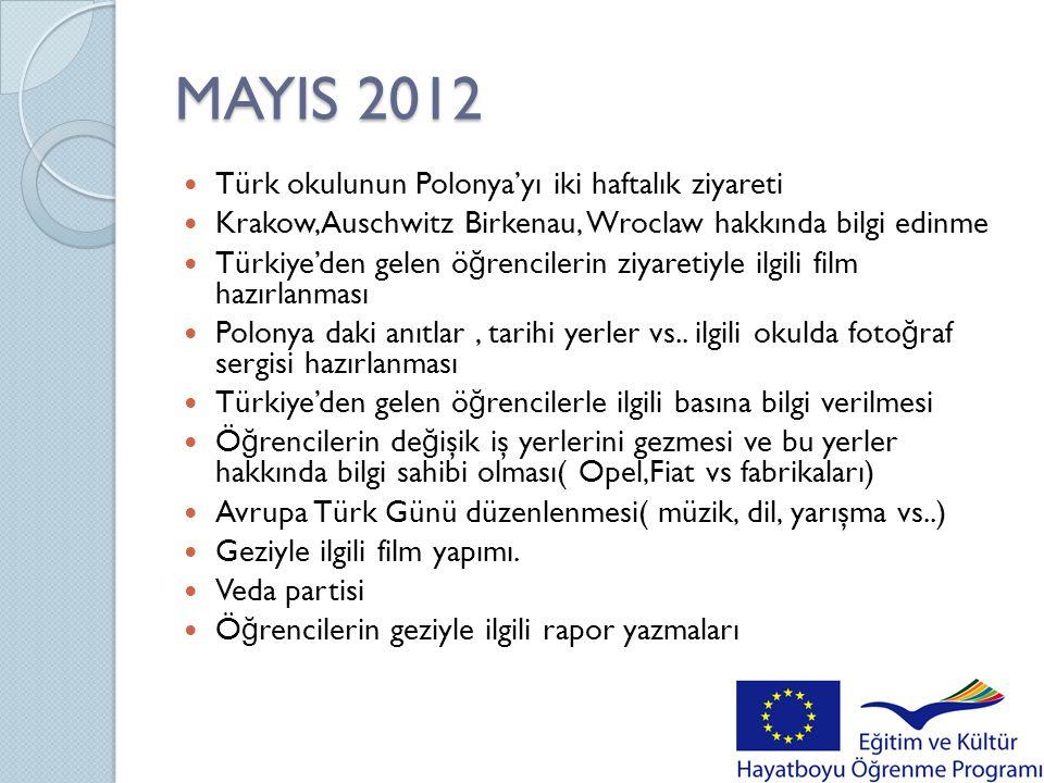 MAYIS 2012 Türk okulunun Polonya'yı iki haftalık ziyareti