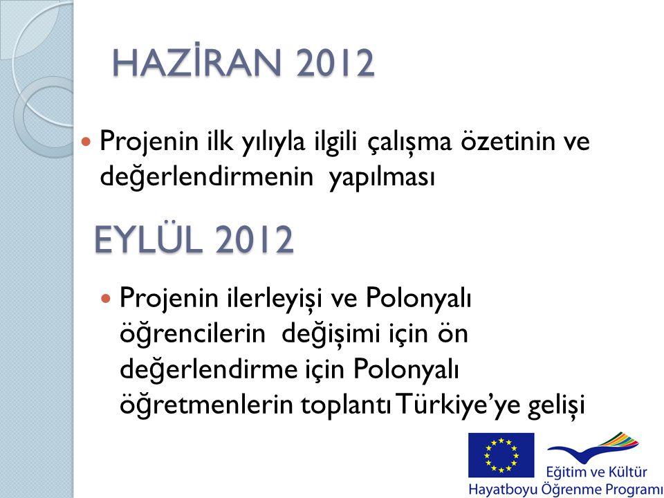 HAZİRAN 2012 Projenin ilk yılıyla ilgili çalışma özetinin ve değerlendirmenin yapılması. EYLÜL 2012.