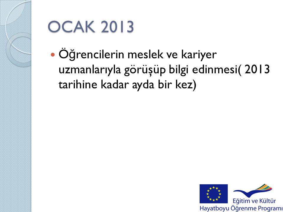 OCAK 2013 Öğrencilerin meslek ve kariyer uzmanlarıyla görüşüp bilgi edinmesi( 2013 tarihine kadar ayda bir kez)