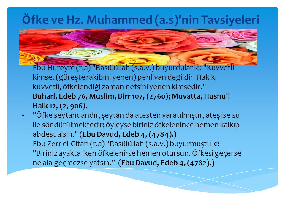 Öfke ve Hz. Muhammed (a.s) nin Tavsiyeleri