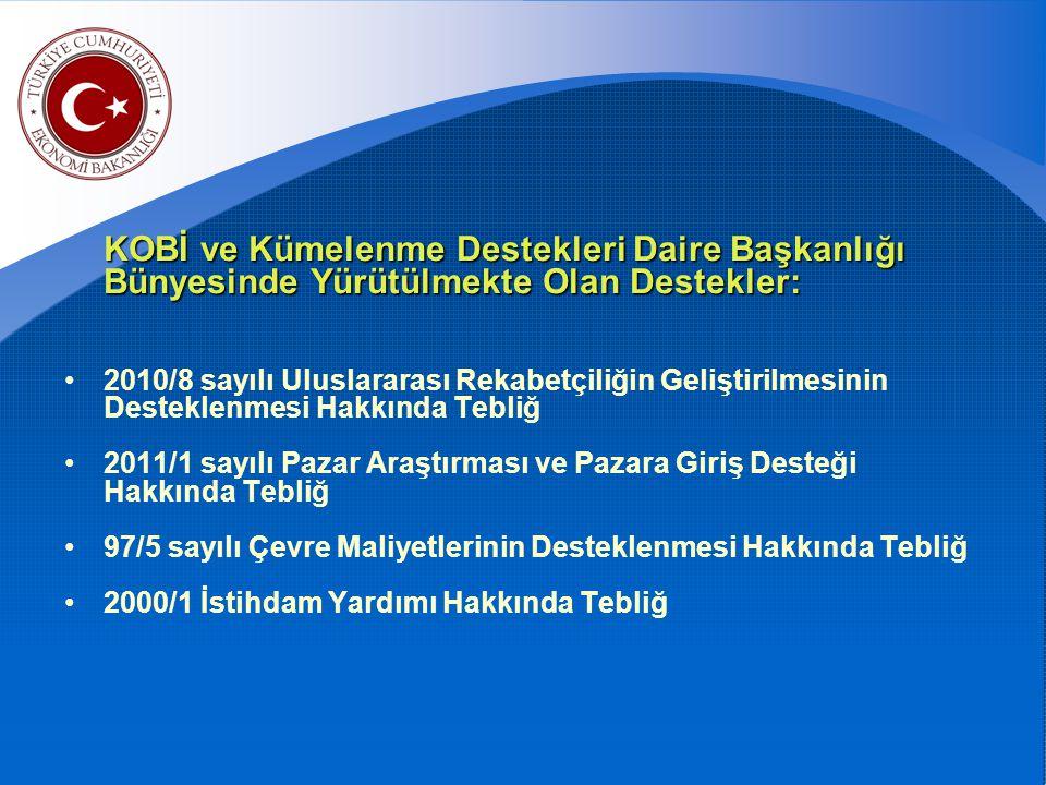KOBİ ve Kümelenme Destekleri Daire Başkanlığı Bünyesinde Yürütülmekte Olan Destekler: