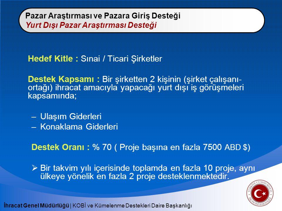 Hedef Kitle : Sınai / Ticari Şirketler