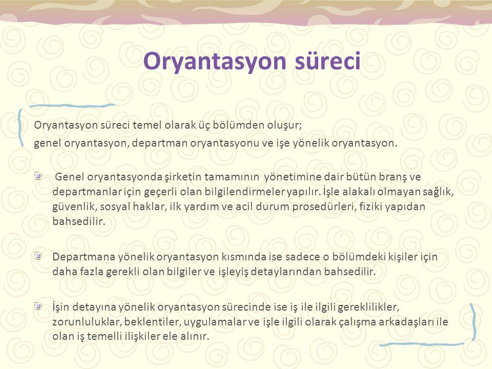 Oryantasyon süreci Oryantasyon süreci temel olarak üç bölümden oluşur;