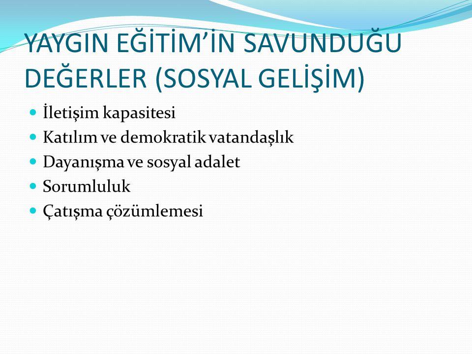 YAYGIN EĞİTİM'İN SAVUNDUĞU DEĞERLER (SOSYAL GELİŞİM)