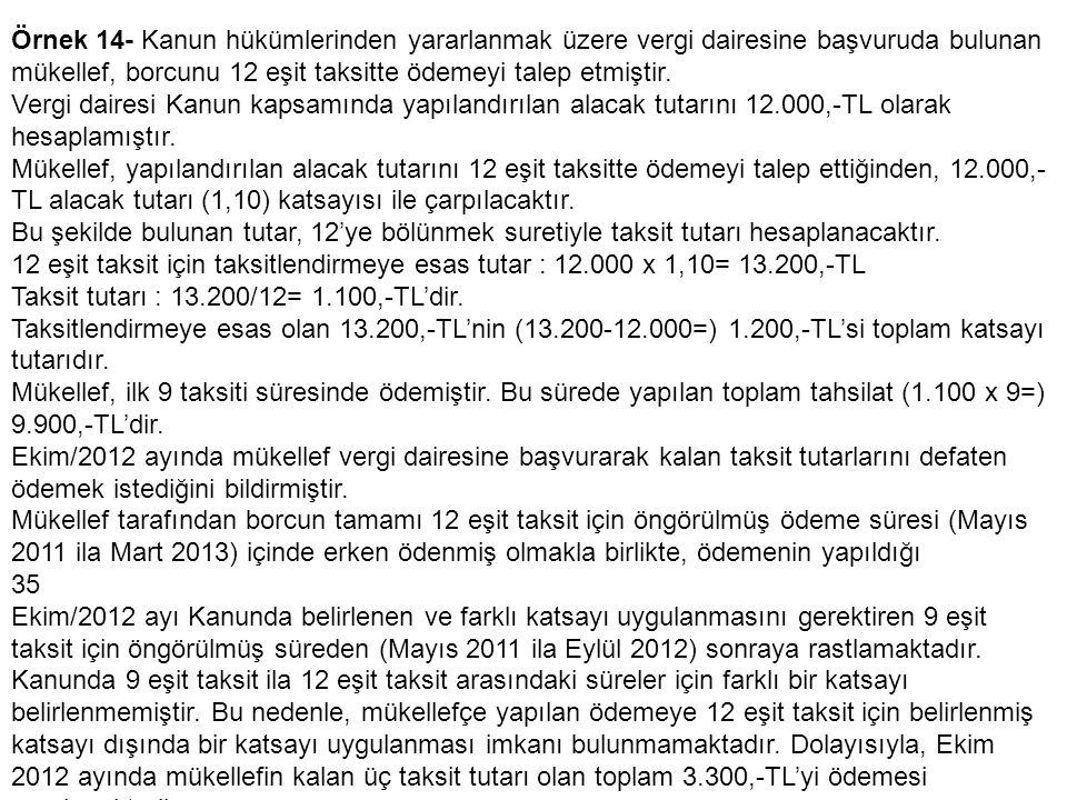 Örnek 14- Kanun hükümlerinden yararlanmak üzere vergi dairesine başvuruda bulunan mükellef, borcunu 12 eşit taksitte ödemeyi talep etmiştir.