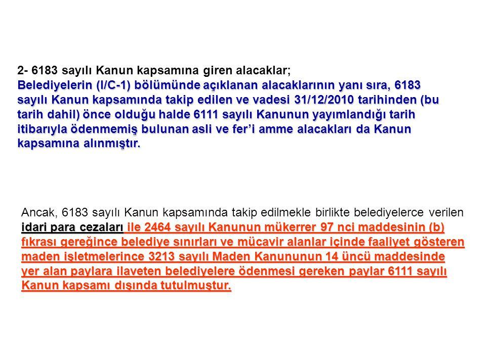 2- 6183 sayılı Kanun kapsamına giren alacaklar;