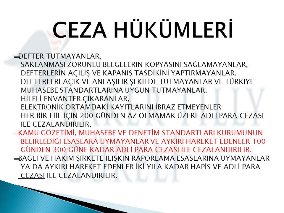 CEZA HÜKÜMLERİ DEFTER TUTMAYANLAR,