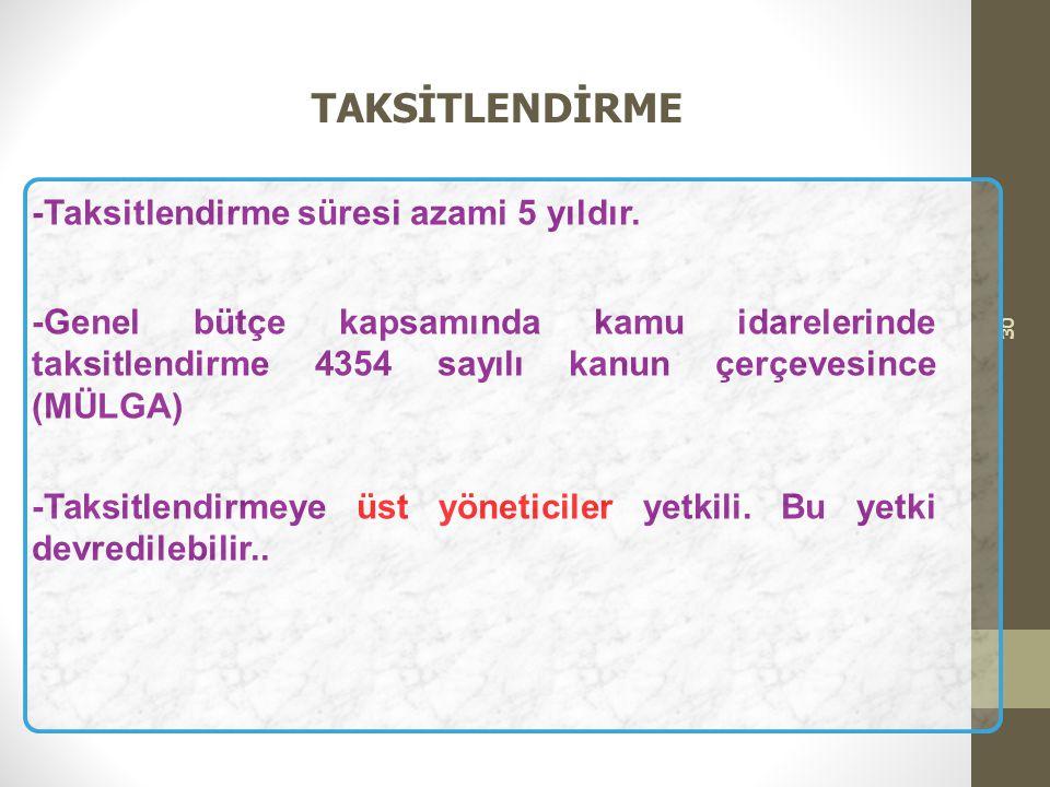 TAKSİTLENDİRME -Taksitlendirme süresi azami 5 yıldır.
