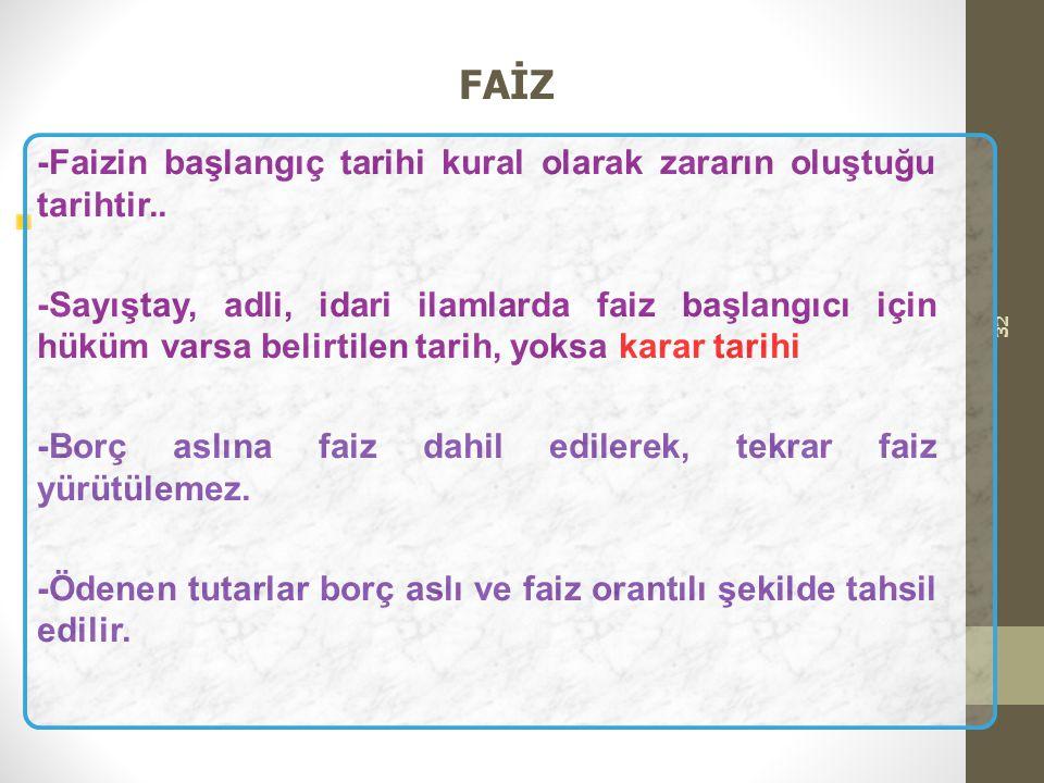FAİZ -Faizin başlangıç tarihi kural olarak zararın oluştuğu tarihtir..