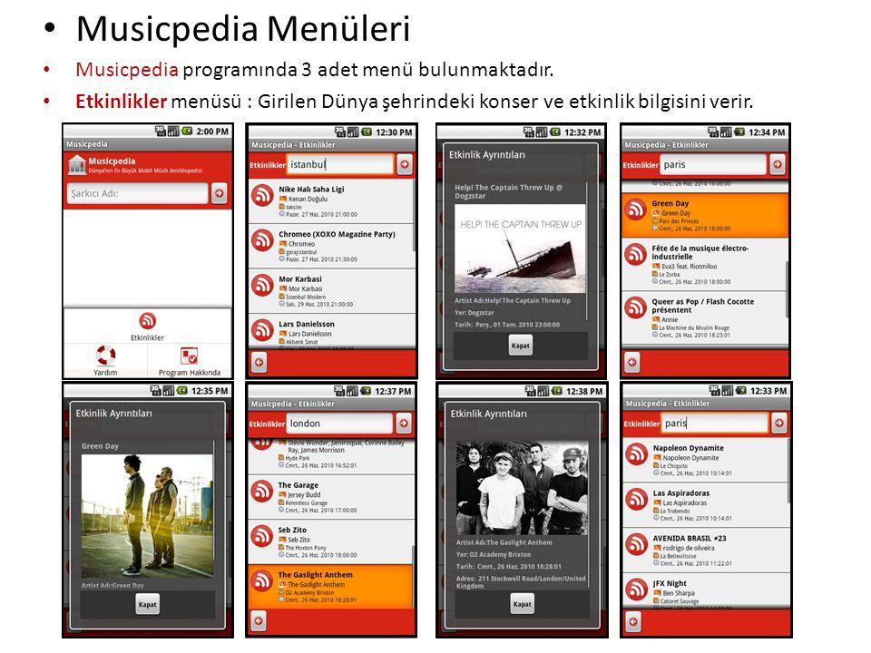 Musicpedia Menüleri Musicpedia programında 3 adet menü bulunmaktadır.