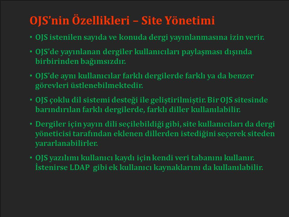 OJS'nin Özellikleri – Site Yönetimi