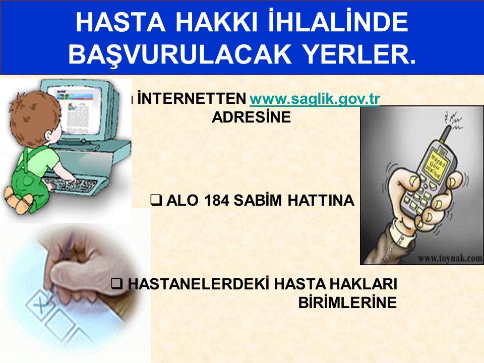 HASTA HAKKI İHLALİNDE BAŞVURULACAK YERLER.