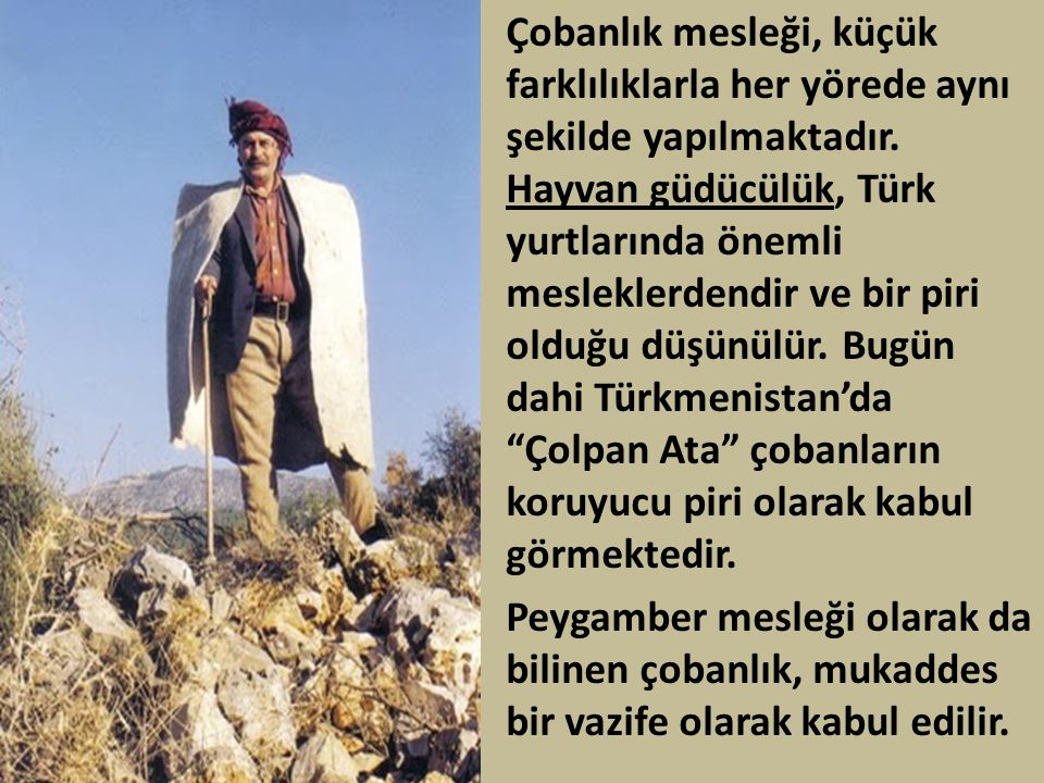 Çobanlık mesleği, küçük farklılıklarla her yörede aynı şekilde yapılmaktadır. Hayvan güdücülük, Türk yurtlarında önemli mesleklerdendir ve bir piri olduğu düşünülür. Bugün dahi Türkmenistan'da Çolpan Ata çobanların koruyucu piri olarak kabul görmektedir.