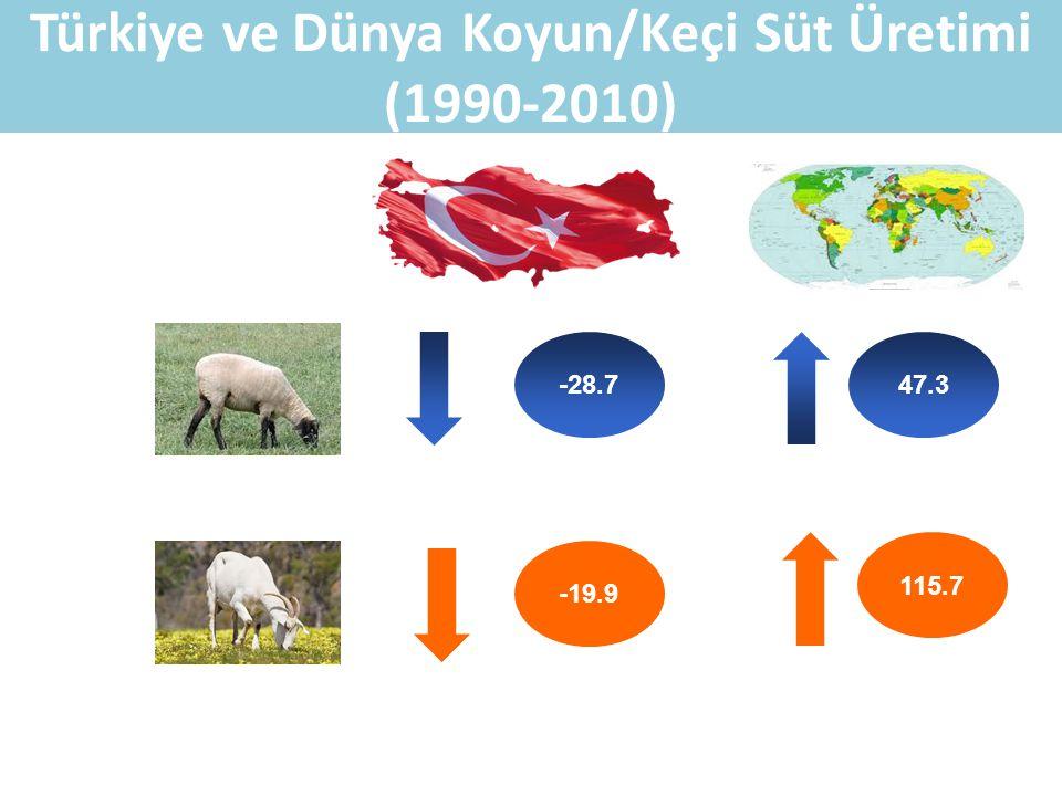 Türkiye ve Dünya Koyun/Keçi Süt Üretimi (1990-2010)