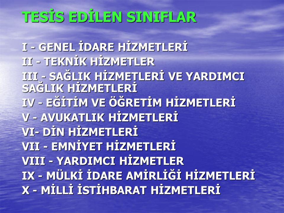 TESİS EDİLEN SINIFLAR I - GENEL İDARE HİZMETLERİ II - TEKNİK HİZMETLER