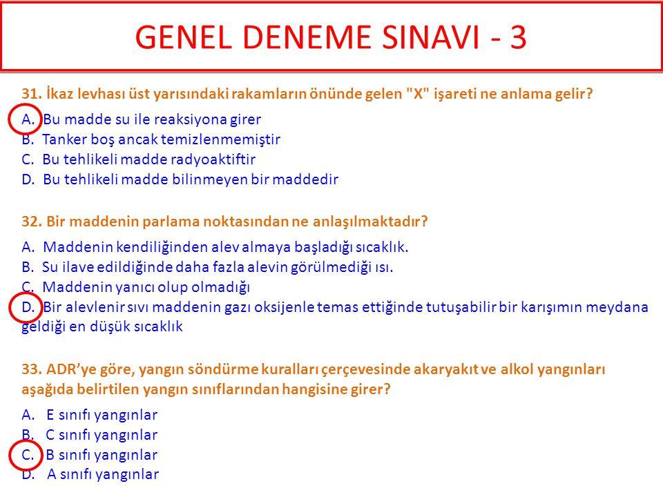 GENEL DENEME SINAVI - 3 31. İkaz levhası üst yarısındaki rakamların önünde gelen X işareti ne anlama gelir