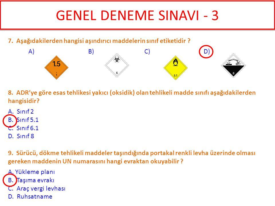 GENEL DENEME SINAVI - 3 7. Aşağıdakilerden hangisi aşındırıcı maddelerin sınıf etiketidir