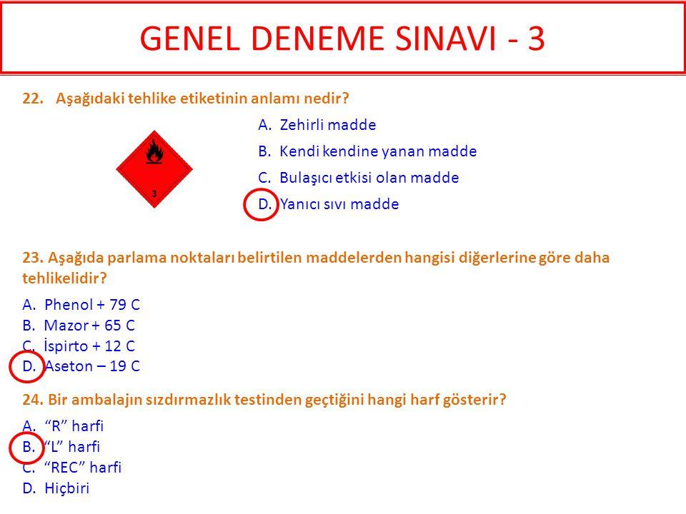 GENEL DENEME SINAVI - 3 22. Aşağıdaki tehlike etiketinin anlamı nedir