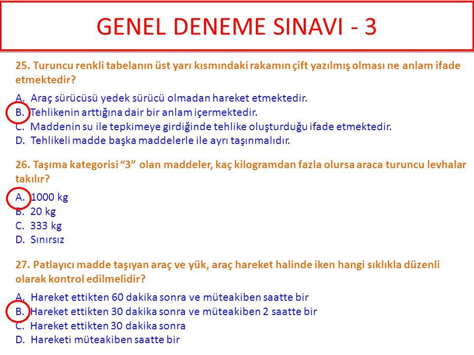 GENEL DENEME SINAVI - 3 25. Turuncu renkli tabelanın üst yarı kısmındaki rakamın çift yazılmış olması ne anlam ifade etmektedir