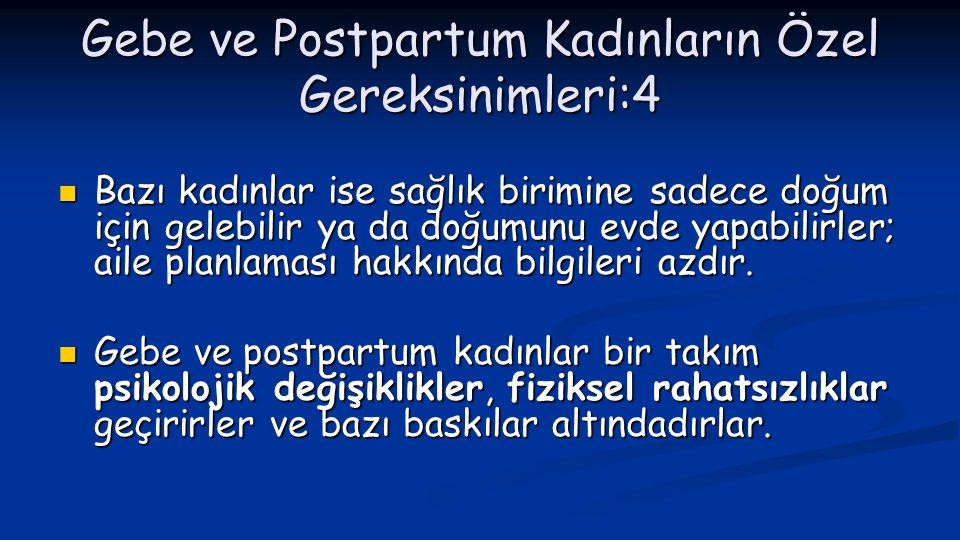 Gebe ve Postpartum Kadınların Özel Gereksinimleri:4