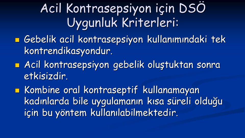 Acil Kontrasepsiyon için DSÖ Uygunluk Kriterleri: