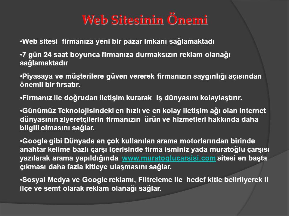 Web Sitesinin Önemi Web sitesi firmanıza yeni bir pazar imkanı sağlamaktadı.