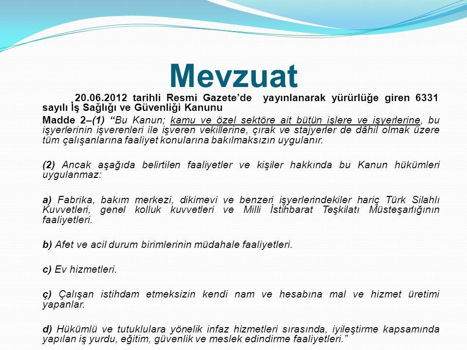 Mevzuat 20.06.2012 tarihli Resmi Gazete'de yayınlanarak yürürlüğe giren 6331 sayılı İş Sağlığı ve Güvenliği Kanunu.
