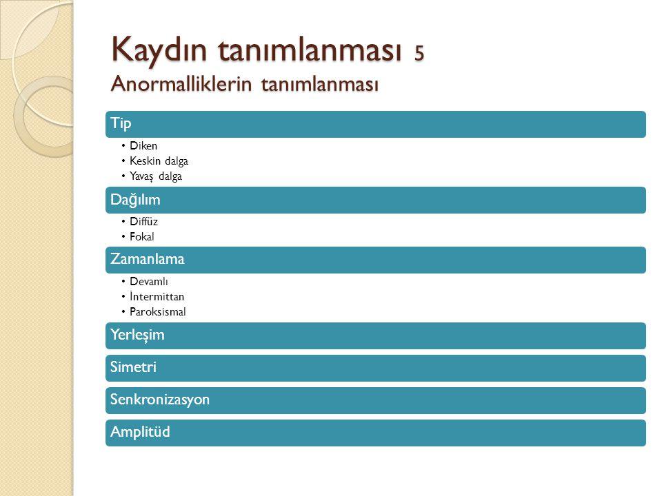 Kaydın tanımlanması 5 Anormalliklerin tanımlanması