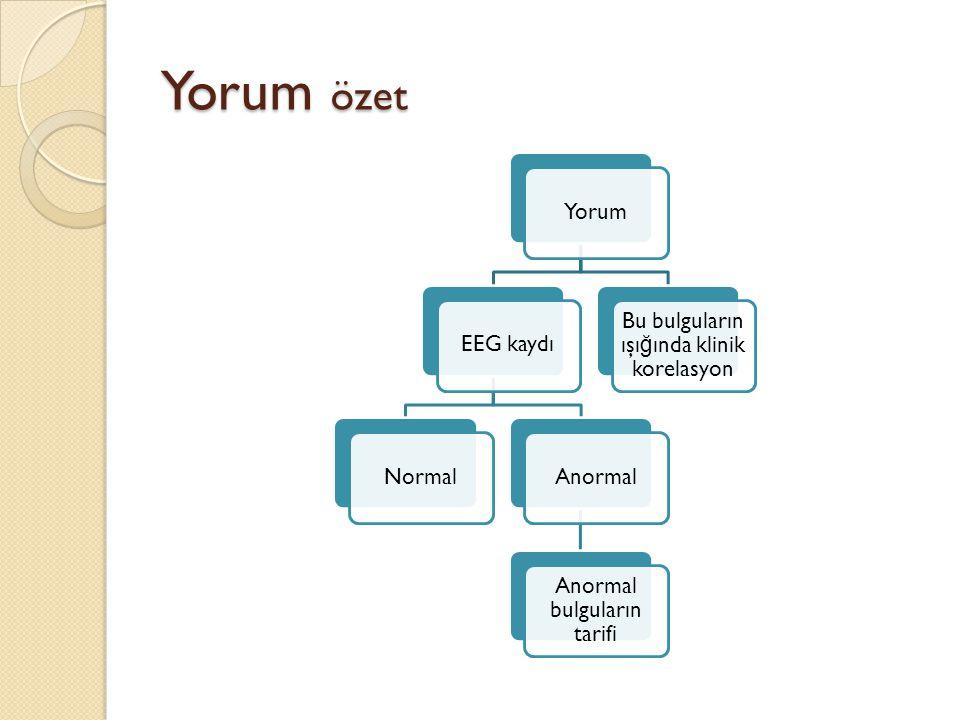 Yorum özet Yorum EEG kaydı Normal Anormal Anormal bulguların tarifi