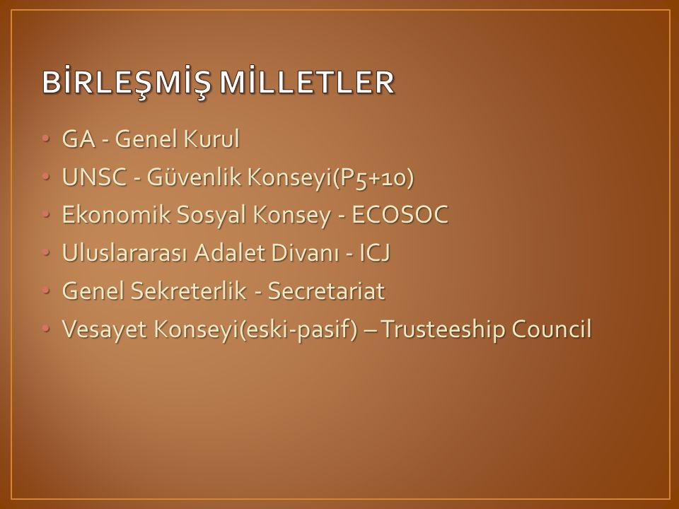 BİRLEŞMİŞ MİLLETLER GA - Genel Kurul UNSC - Güvenlik Konseyi(P5+10)