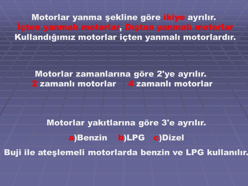 Motorlar yakıtlarına göre 3 e ayrılır. a)Benzin b)LPG c)Dizel