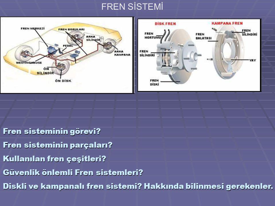 FREN SİSTEMİ Fren sisteminin görevi Fren sisteminin parçaları