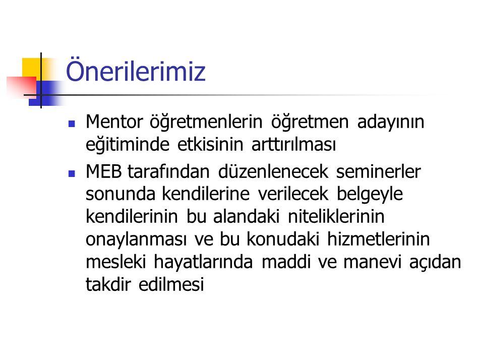 Önerilerimiz Mentor öğretmenlerin öğretmen adayının eğitiminde etkisinin arttırılması.