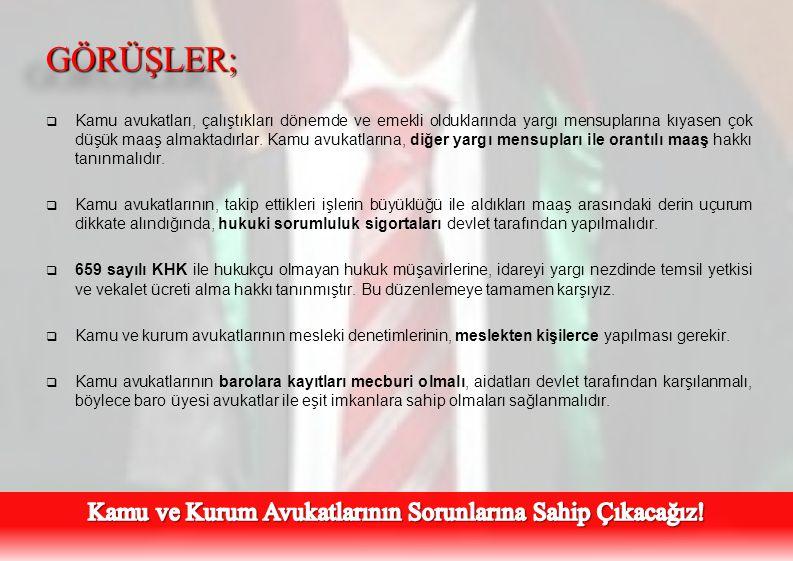 Kamu ve Kurum Avukatlarının Sorunlarına Sahip Çıkacağız!