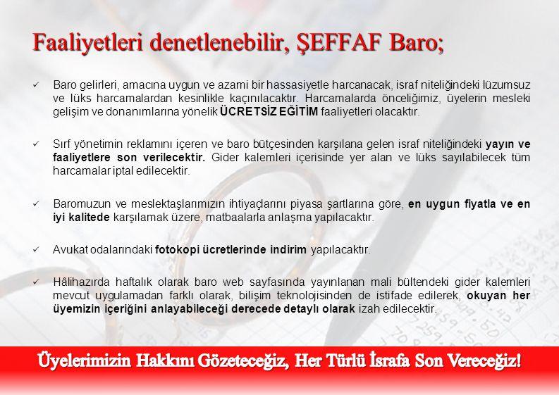 Faaliyetleri denetlenebilir, ŞEFFAF Baro;