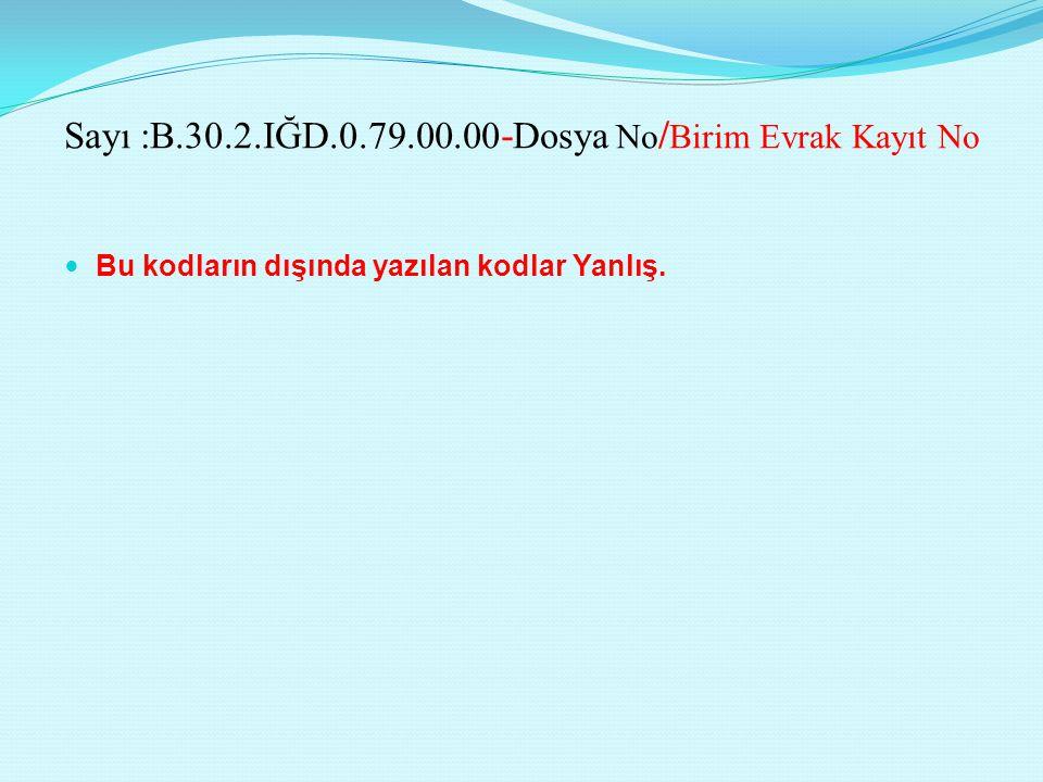Sayı :B.30.2.IĞD.0.79.00.00-Dosya No/Birim Evrak Kayıt No
