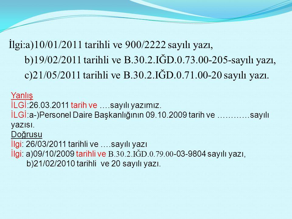 İlgi:a)10/01/2011 tarihli ve 900/2222 sayılı yazı, b)19/02/2011 tarihli ve B.30.2.IĞD.0.73.00-205-sayılı yazı, c)21/05/2011 tarihli ve B.30.2.IĞD.0.71.00-20 sayılı yazı.