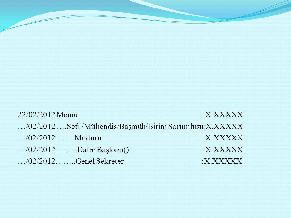 22/02/2012 Memur :X.XXXXX …/02/2012 ….Şefi /Mühendis/Başmüh/Birim Sorumlusu:X.XXXXX …/02/2012 …… Müdürü :X.XXXXX …/02/2012 ……..Daire Başkanı() :X.XXXXX …/02/2012……..Genel Sekreter :X.XXXXX