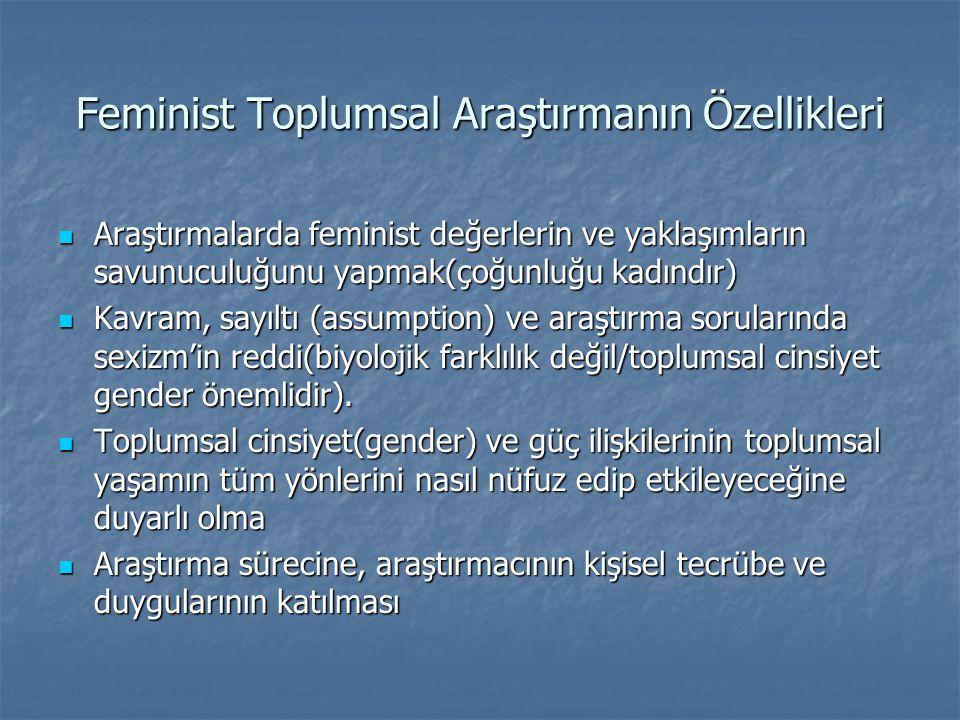 Feminist Toplumsal Araştırmanın Özellikleri
