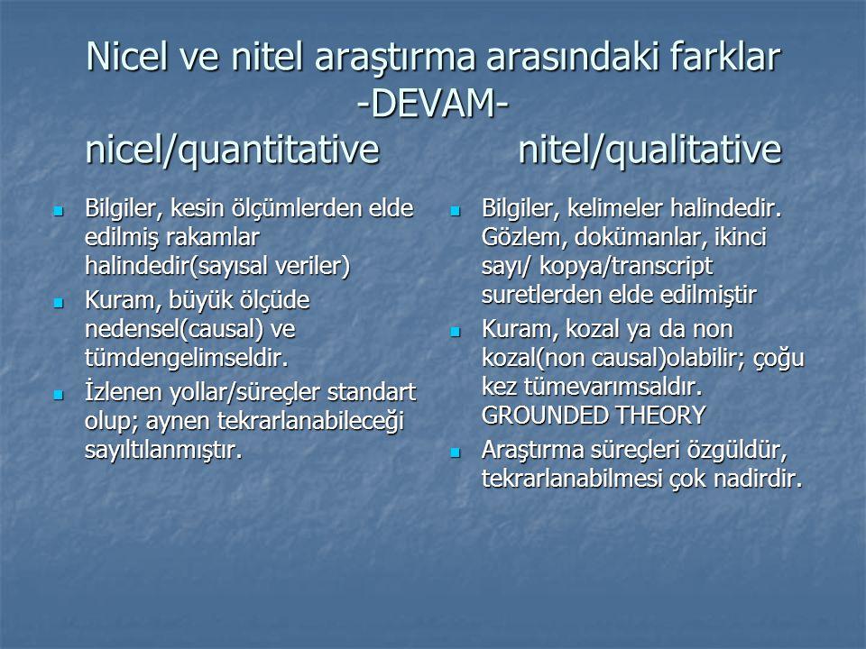 Nicel ve nitel araştırma arasındaki farklar -DEVAM- nicel/quantitative