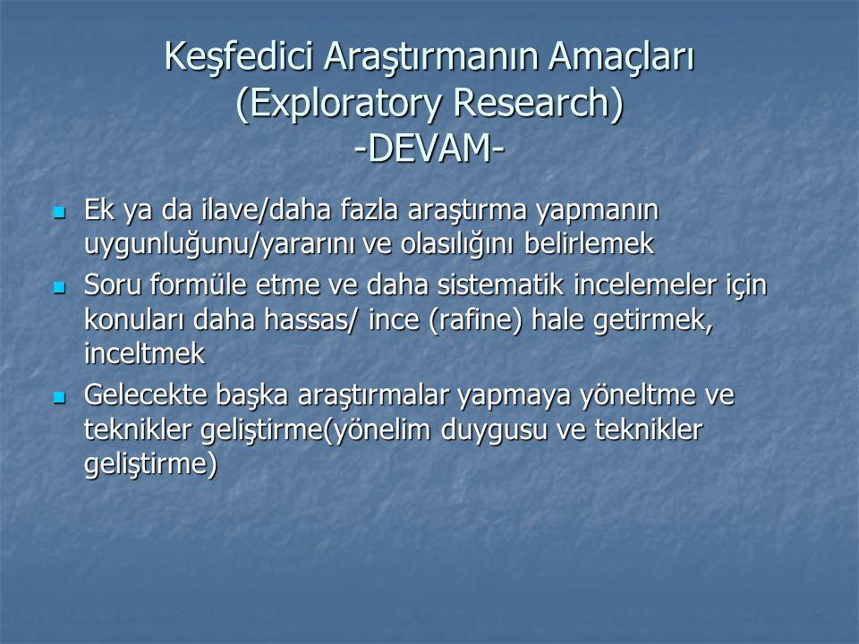 Keşfedici Araştırmanın Amaçları (Exploratory Research) -DEVAM-